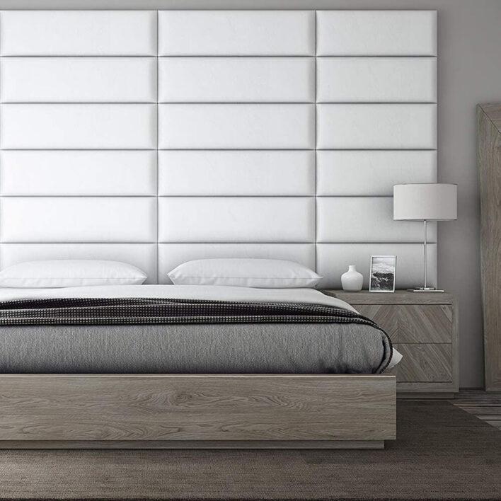 Tête de lit capitonnée blanche
