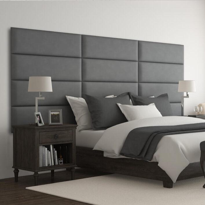 Tête de lit capitonnée gris