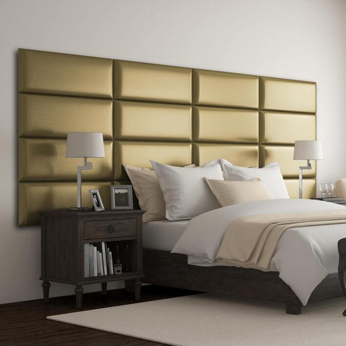 Tête de lit capitonnée or