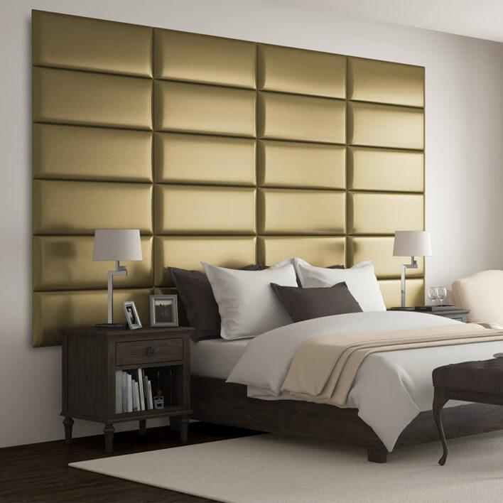 Tête de lit metallique or