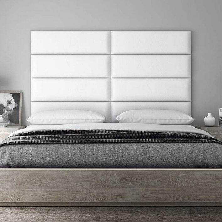 Tête de lit simili cuir blanc