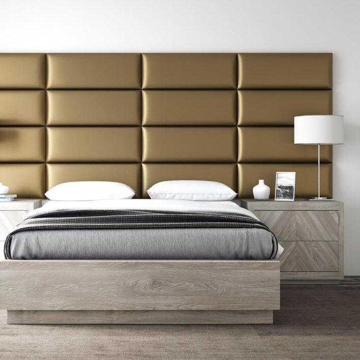 Tête de lit simili cuir or