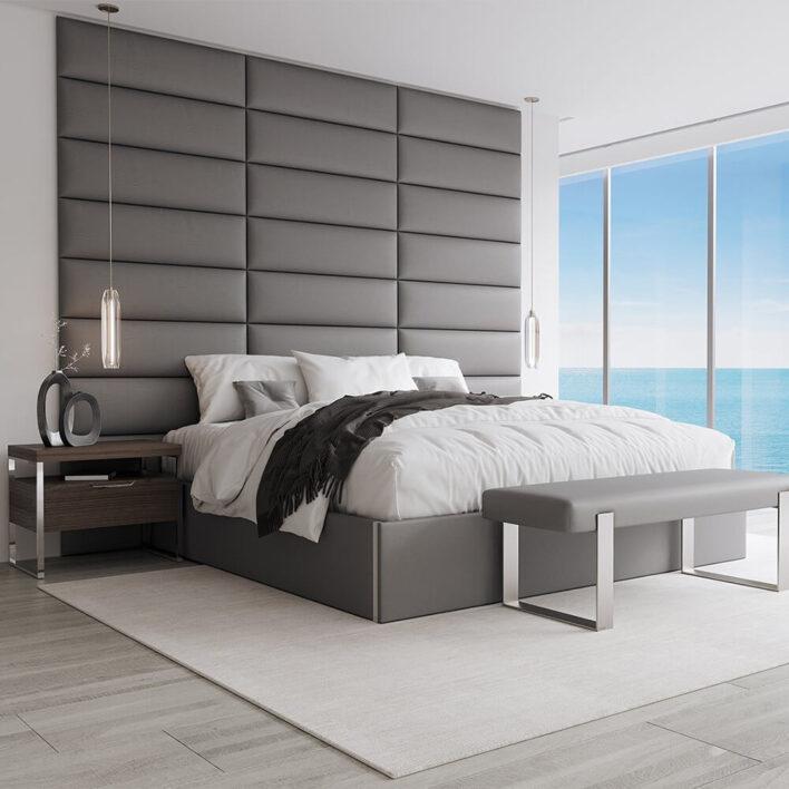 panneau tête de lit matelassé gris