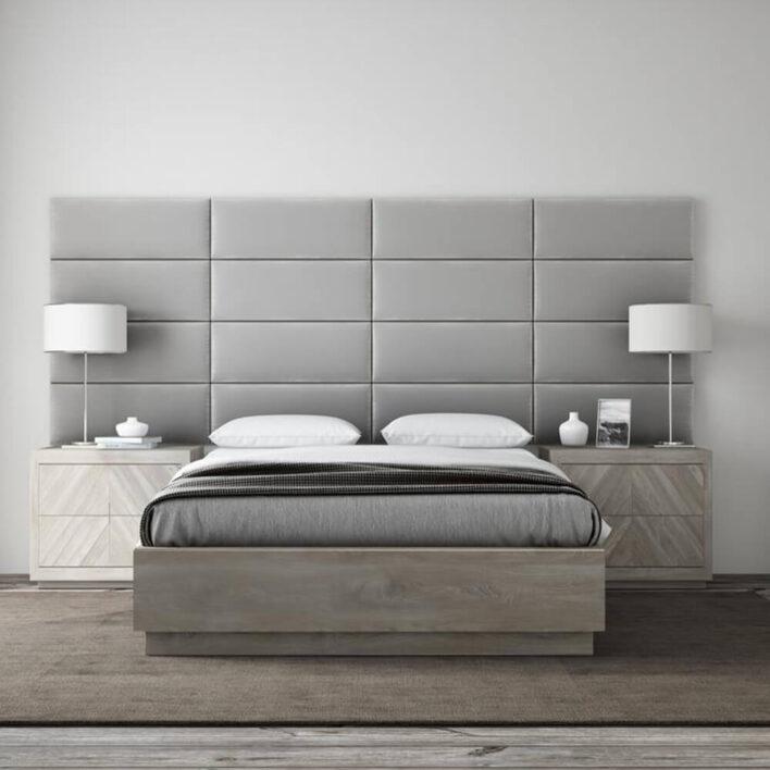 panneau tête de lit velours gris