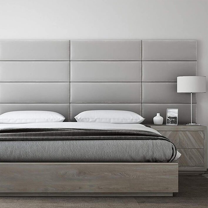 panneaux tête de lit velours gris