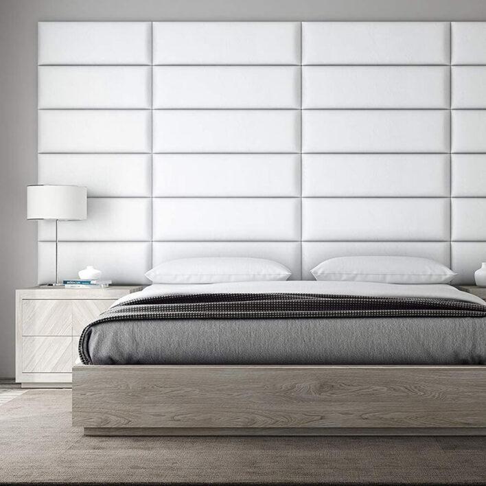 tete de lit cuir blanc
