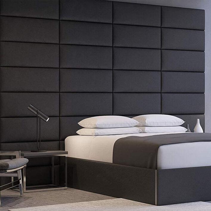 tête de lit cuir noir