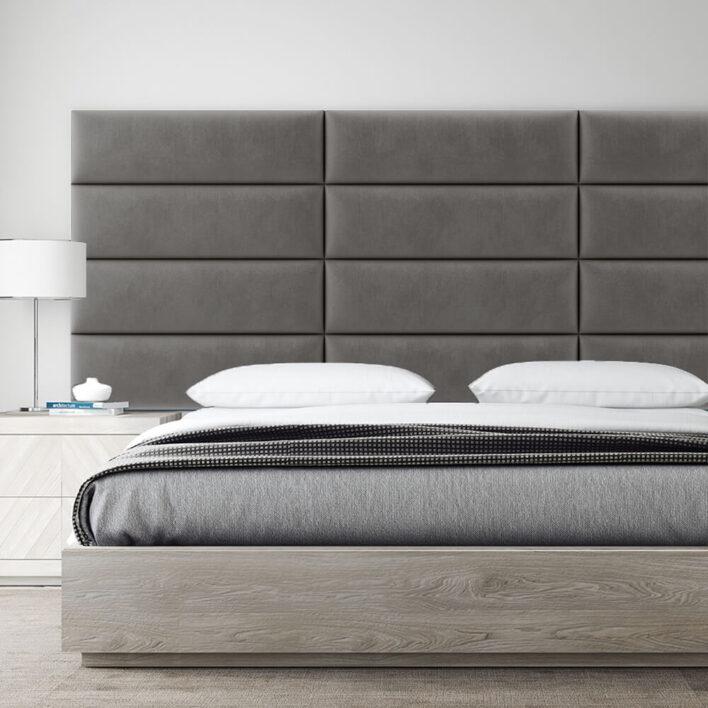 tete de lit design velours gris