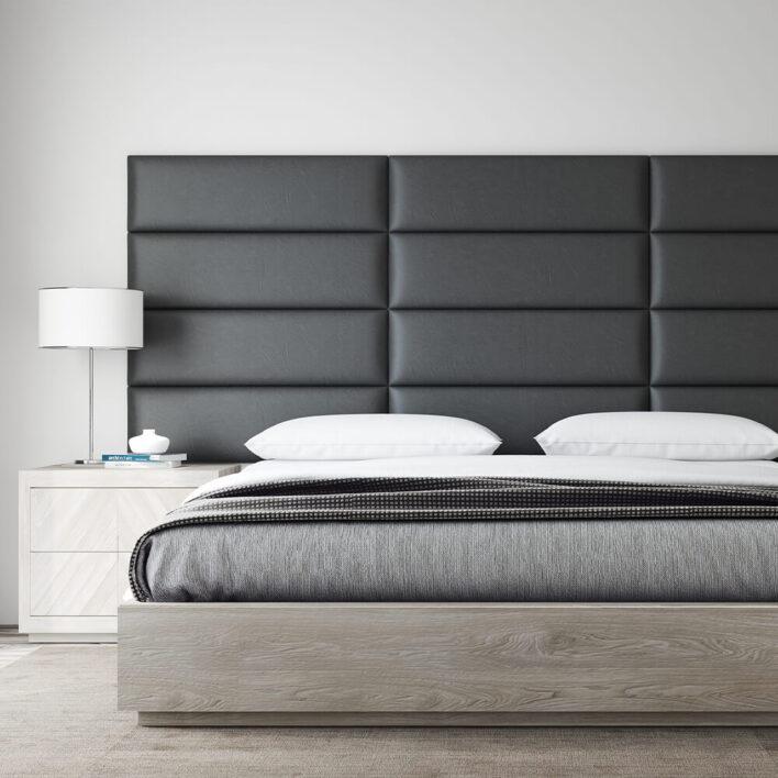 tête de lit en simili cuir noir