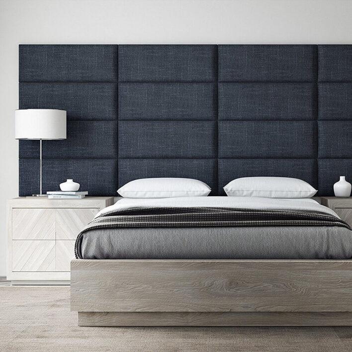 tête de lit en tissu bleu