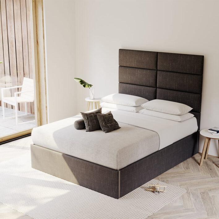 tete de lit en tissu noir