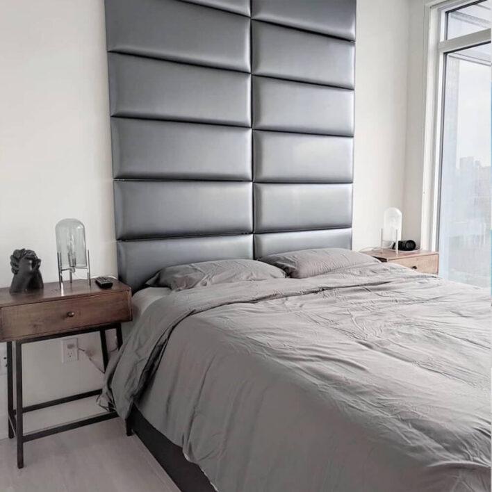 tête de lit matelassé gris