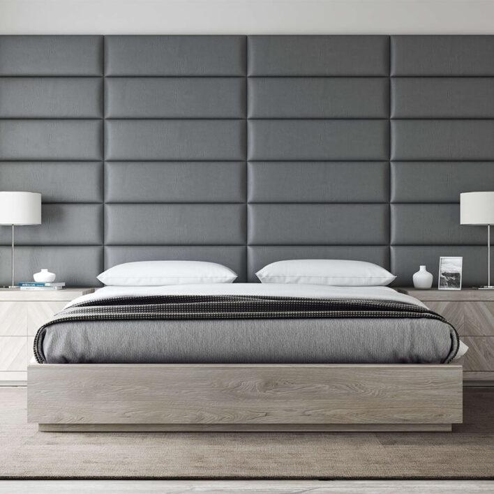 tête de lit murale grise