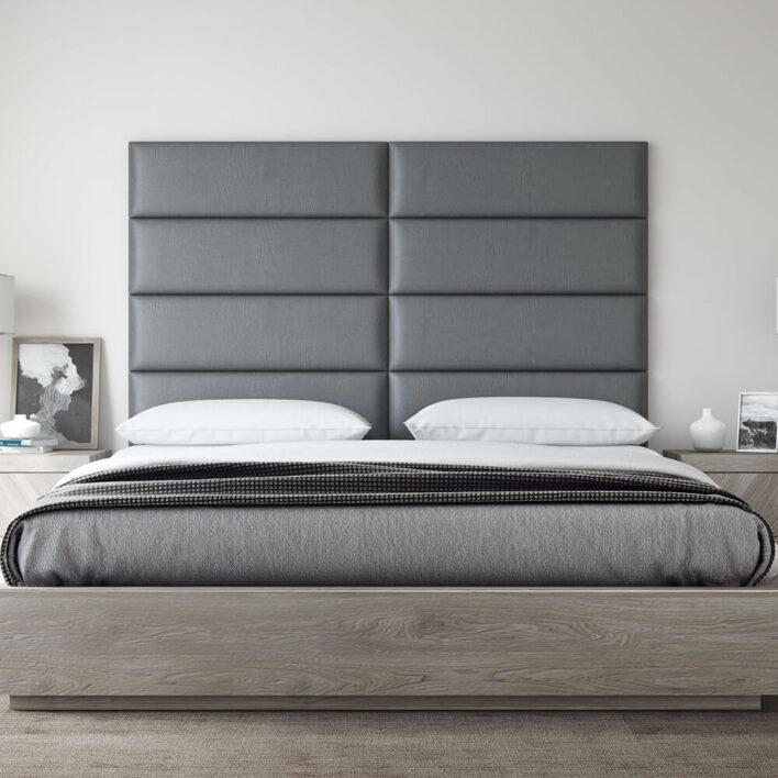 tête de lit simili cuir gris