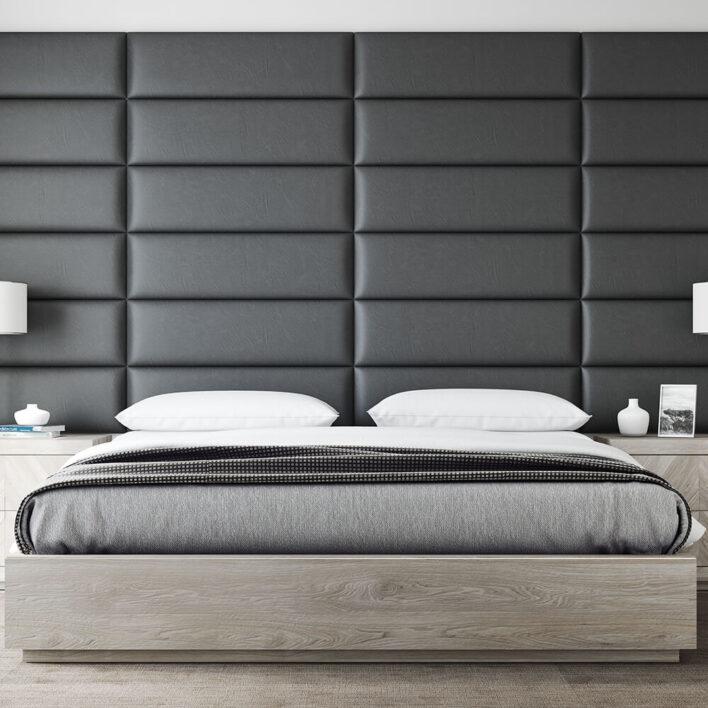 tete de lit simili cuir noir