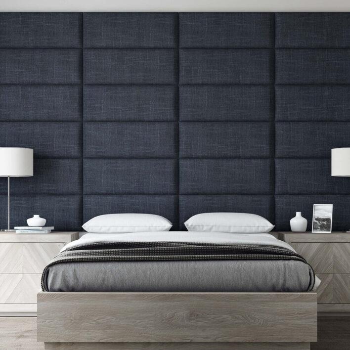 tête de lit tissu bleu denim
